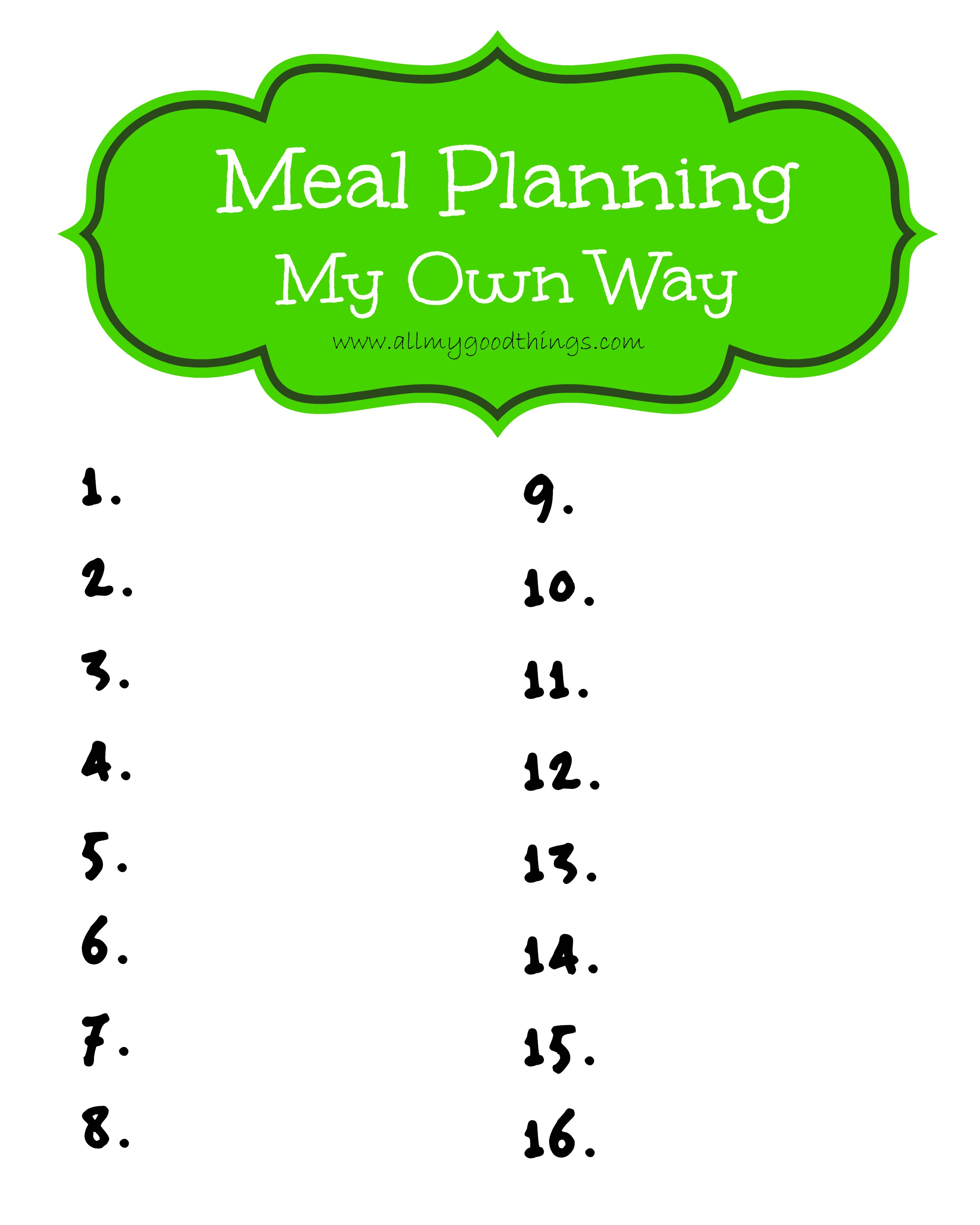 Meal Planning My Own Way