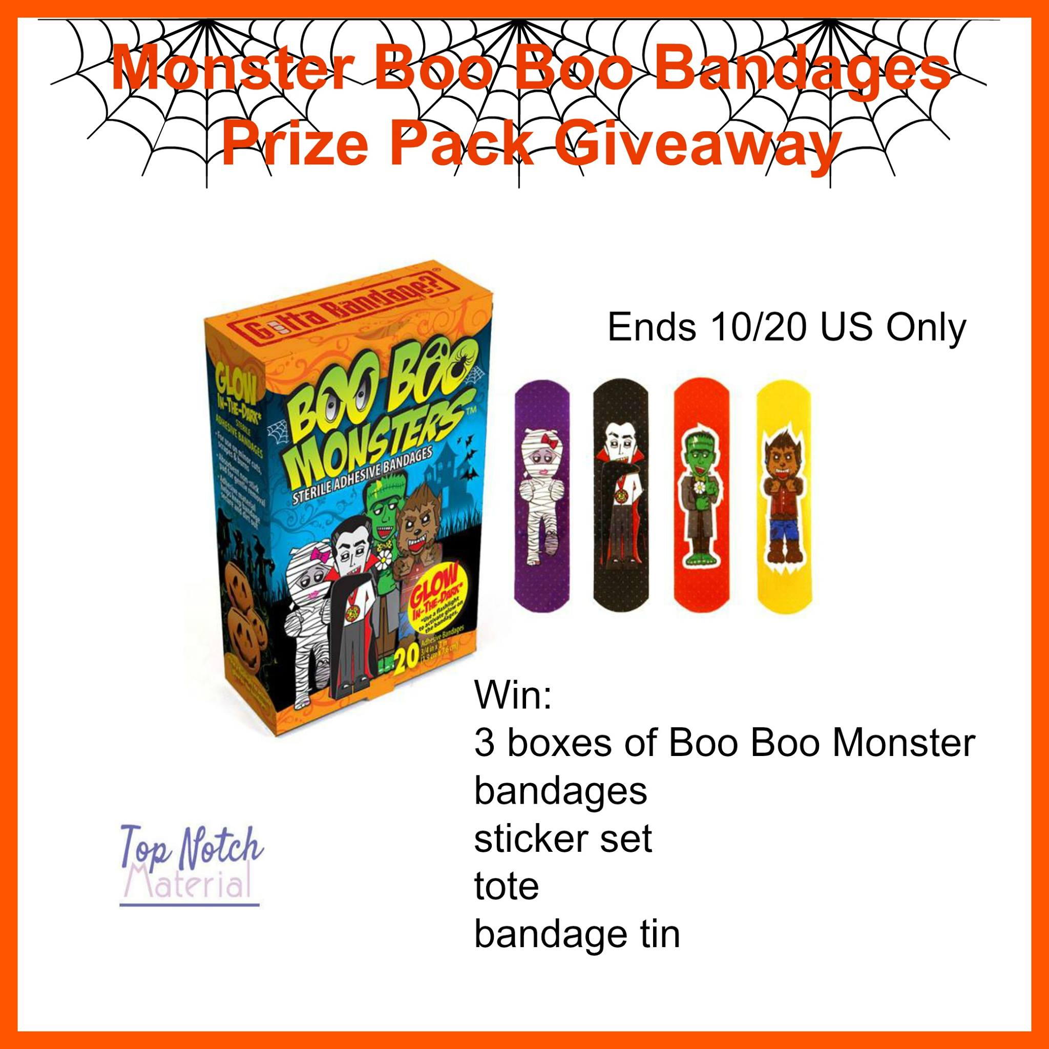 Boo Boo Monster Bandage Prize Pack Giveaway