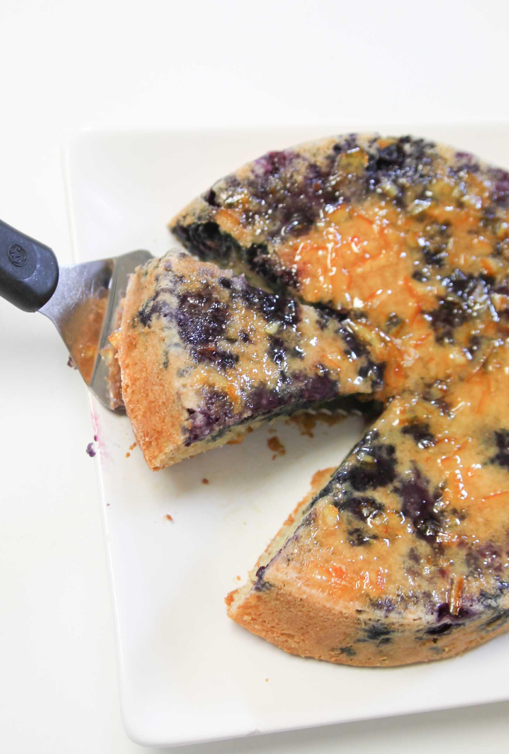 Greek Yogurt Blueberry Cake with Orange Marmalade Glaze