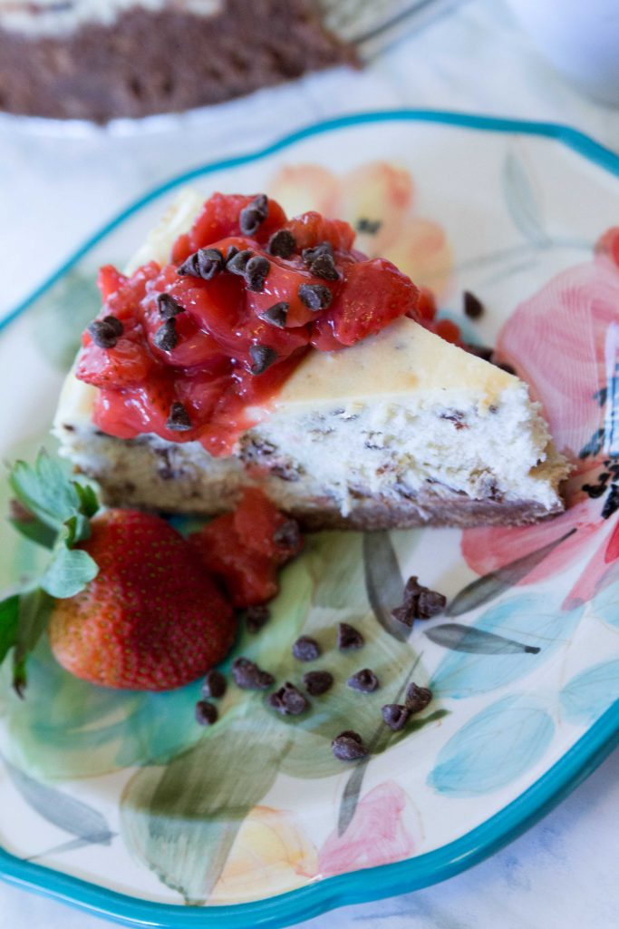Chocolate Chip Cheesecake with Strawberry Compote