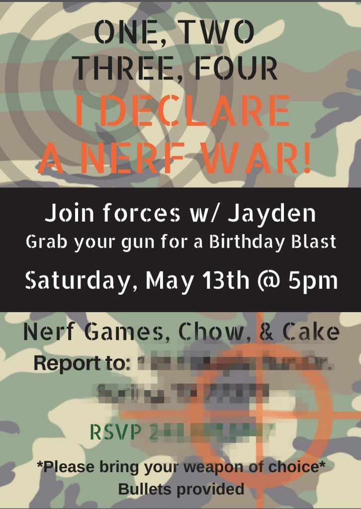 Nerf War Invitations