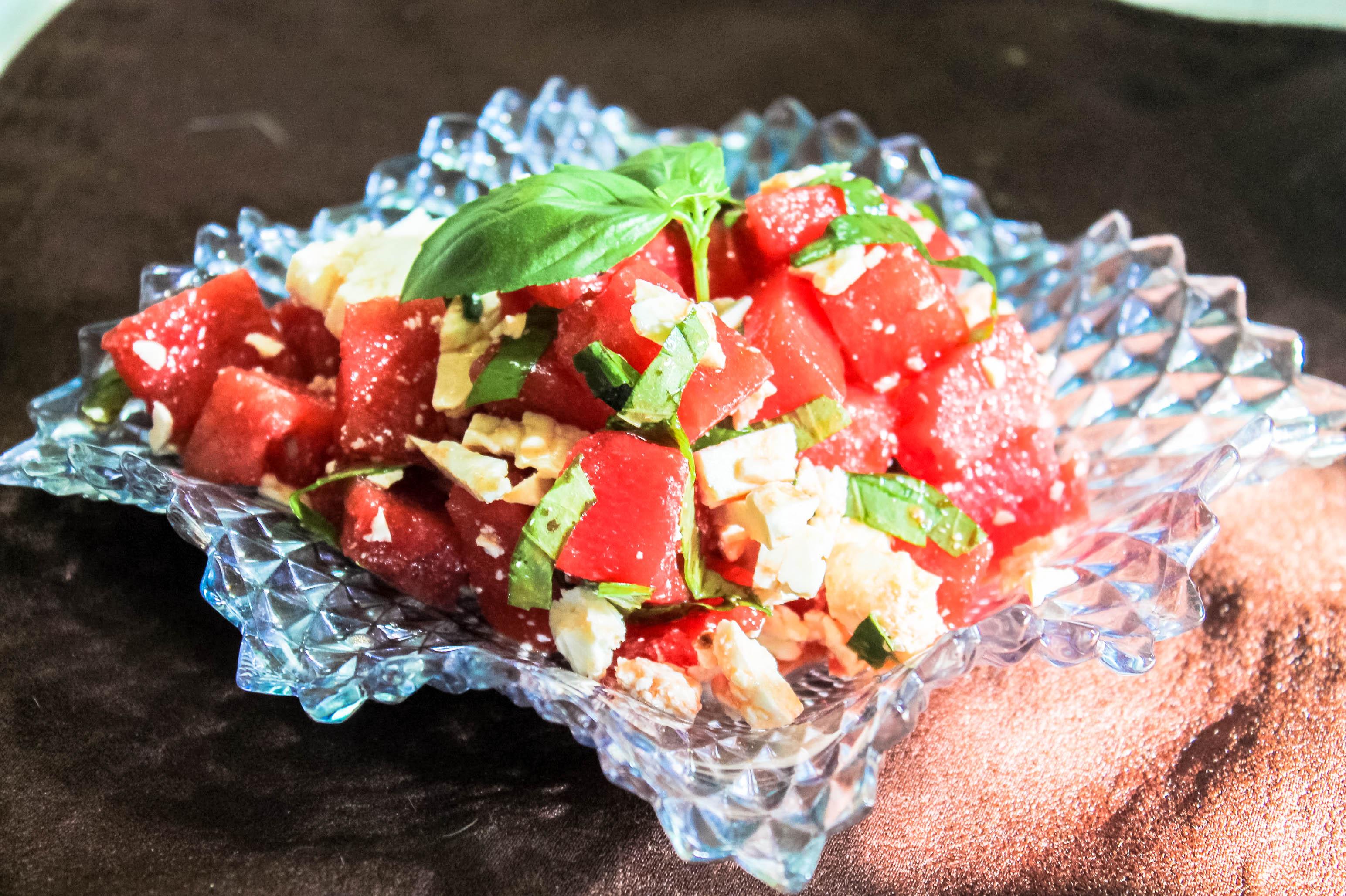 Basil & Feta Cheese Watermelon Salad