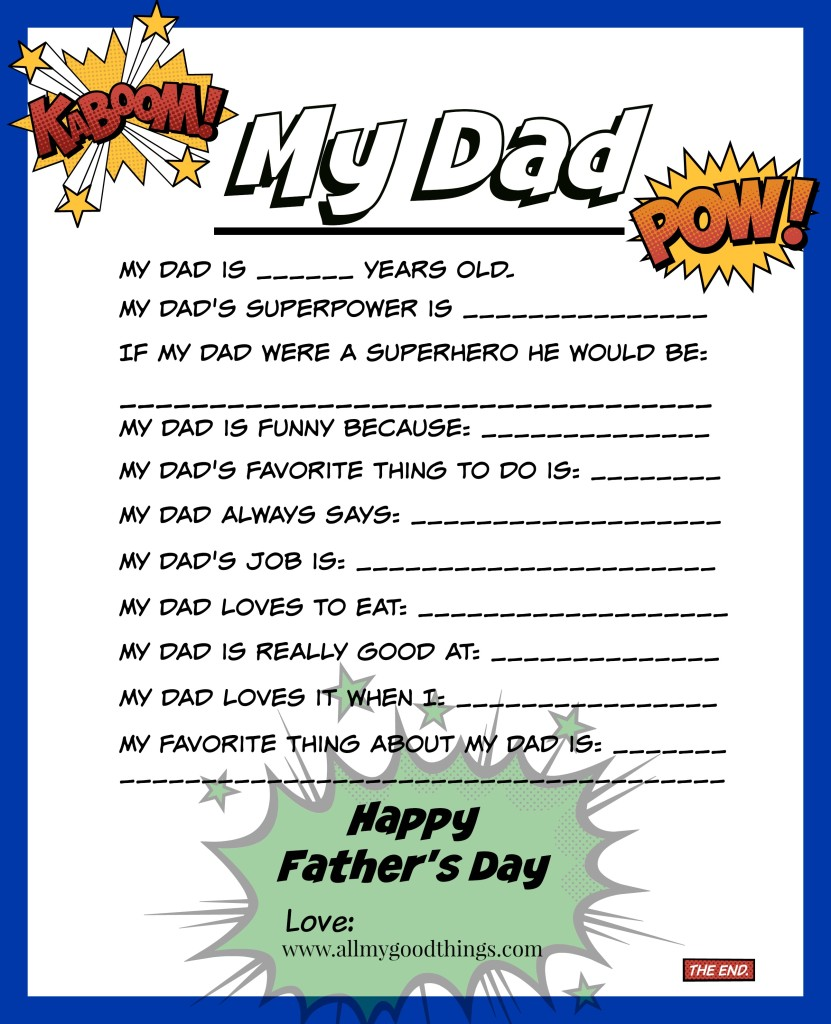 photo regarding Dad Questionnaire Printable called Totally free Fathers Working day Printable