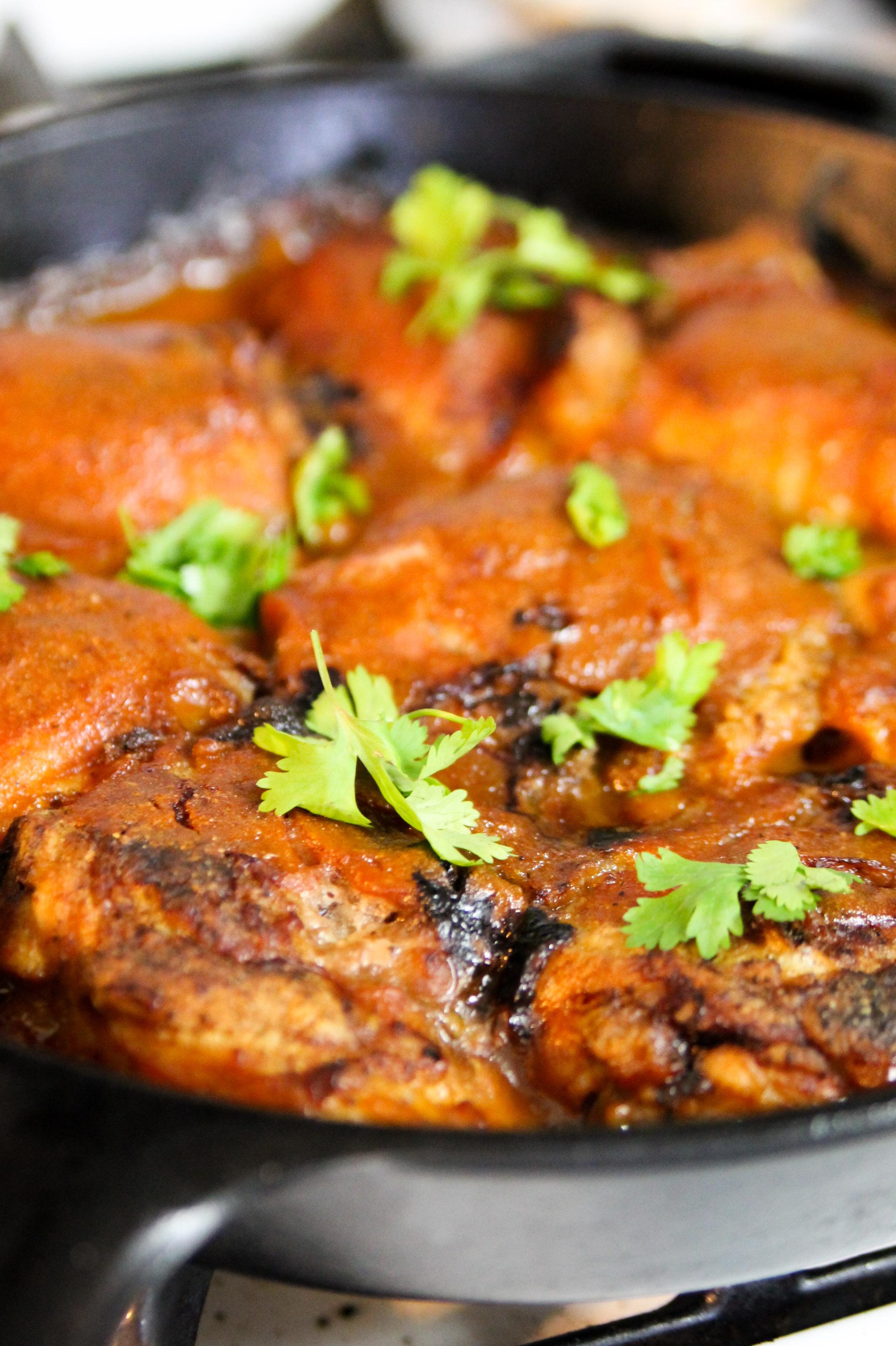 Honey BBQ Skillet Chicken Thighs
