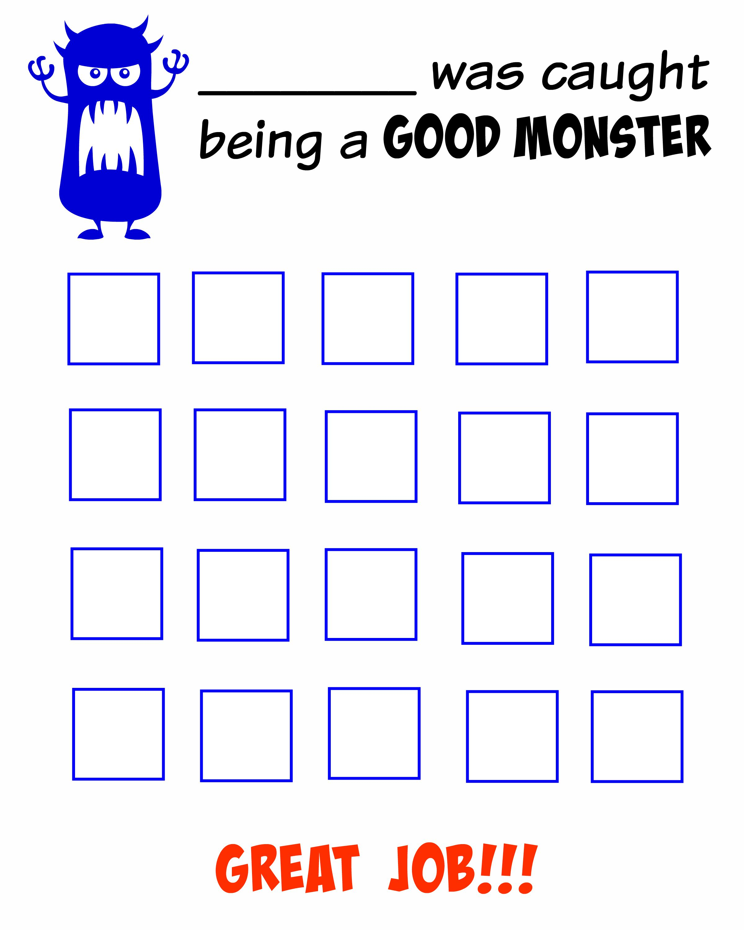 I caught my monsters being good! (FREE Behavior Chart Printable)