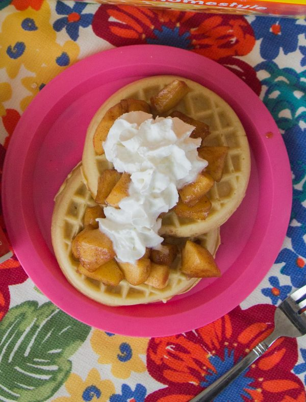 Cinnamon Apple Eggo Waffle Stacks with Reddi Whip