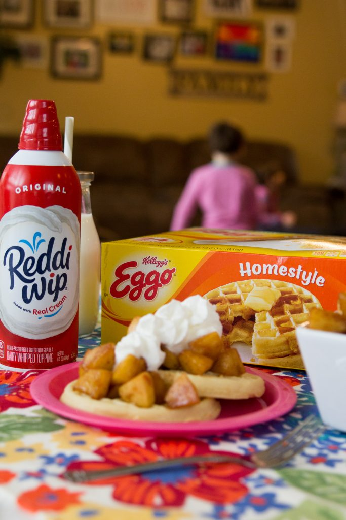 Cinnamon Apple Eggo Waffle Stacks with Reddi Whip