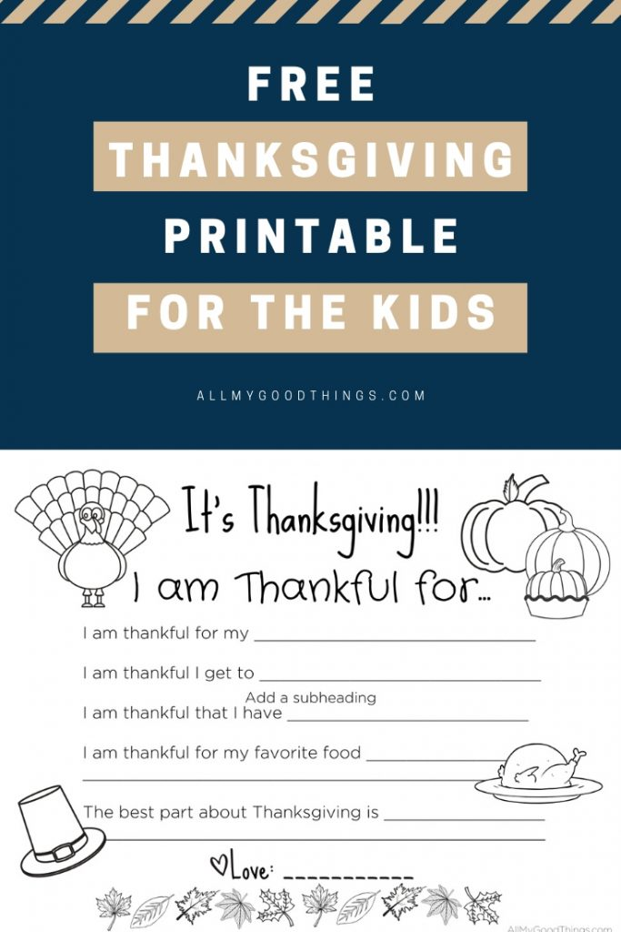 FrEE THANKSGIVING PRintable for the kids