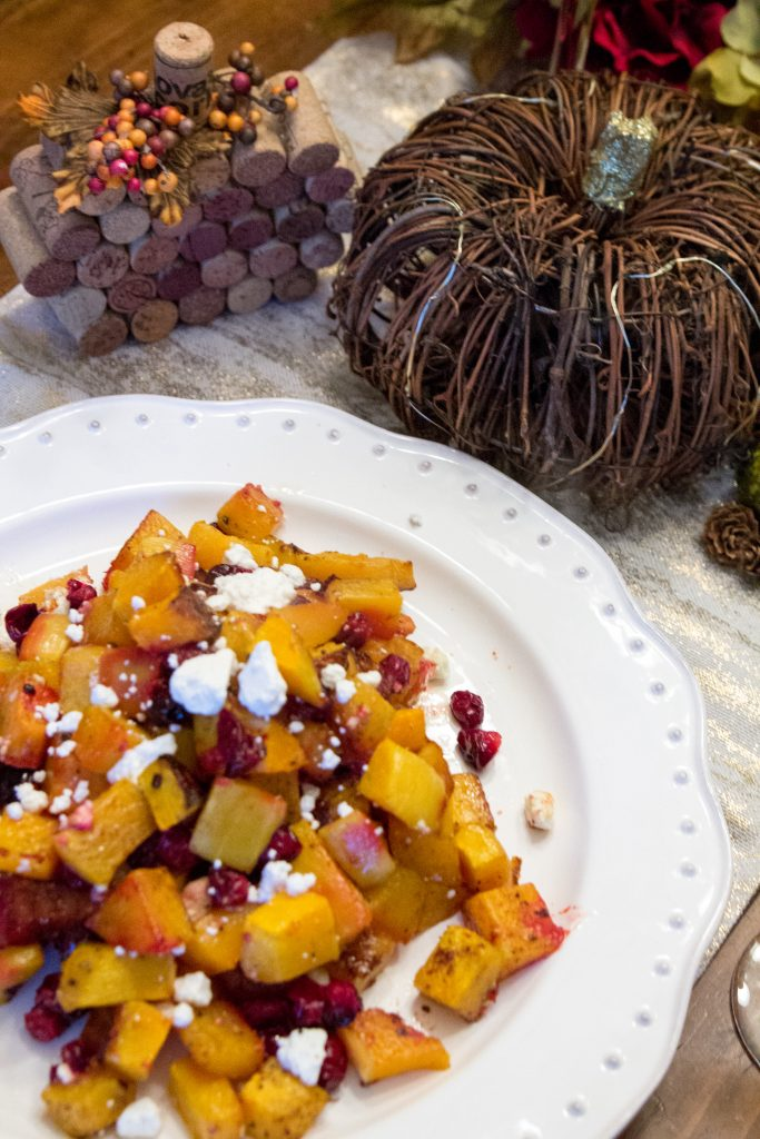 Honey Roasted Butternut Squash & Cranberries with Feta