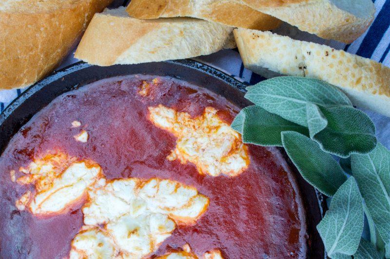 Roasted Goat Cheese Spicy Marinara Dip