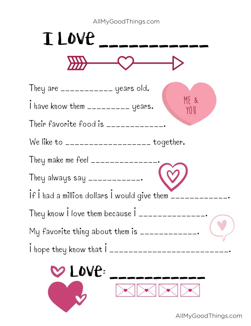 Free Valentine's Day Printable Questionnaire