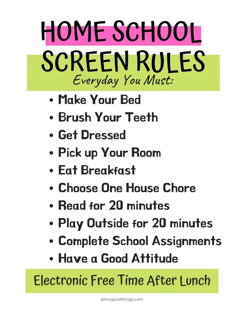 Homeschool Screen Rules