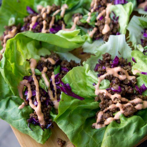 Easy Sesame Miso Beef Lettuce Wraps