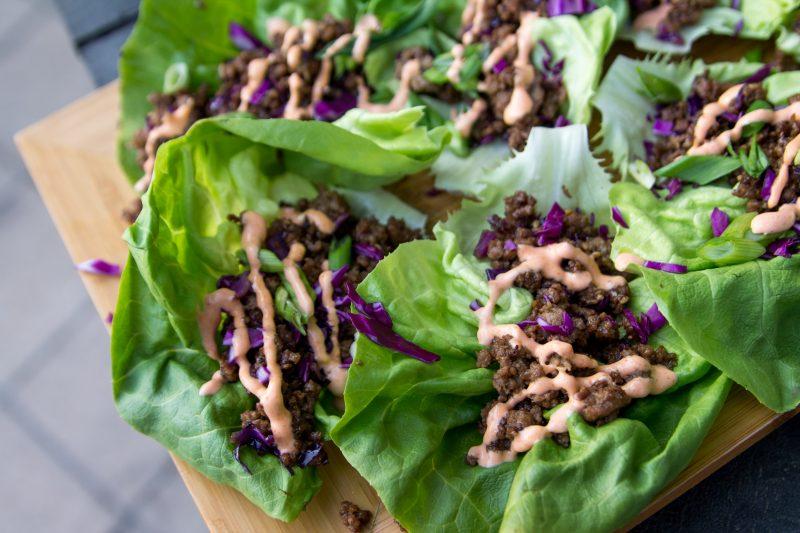 Sesame Miso Beef Lettuce Wraps