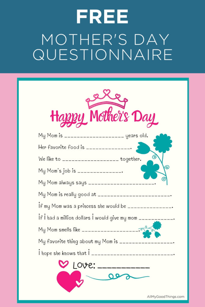 FREE Mother's Day Printable Questionnaire