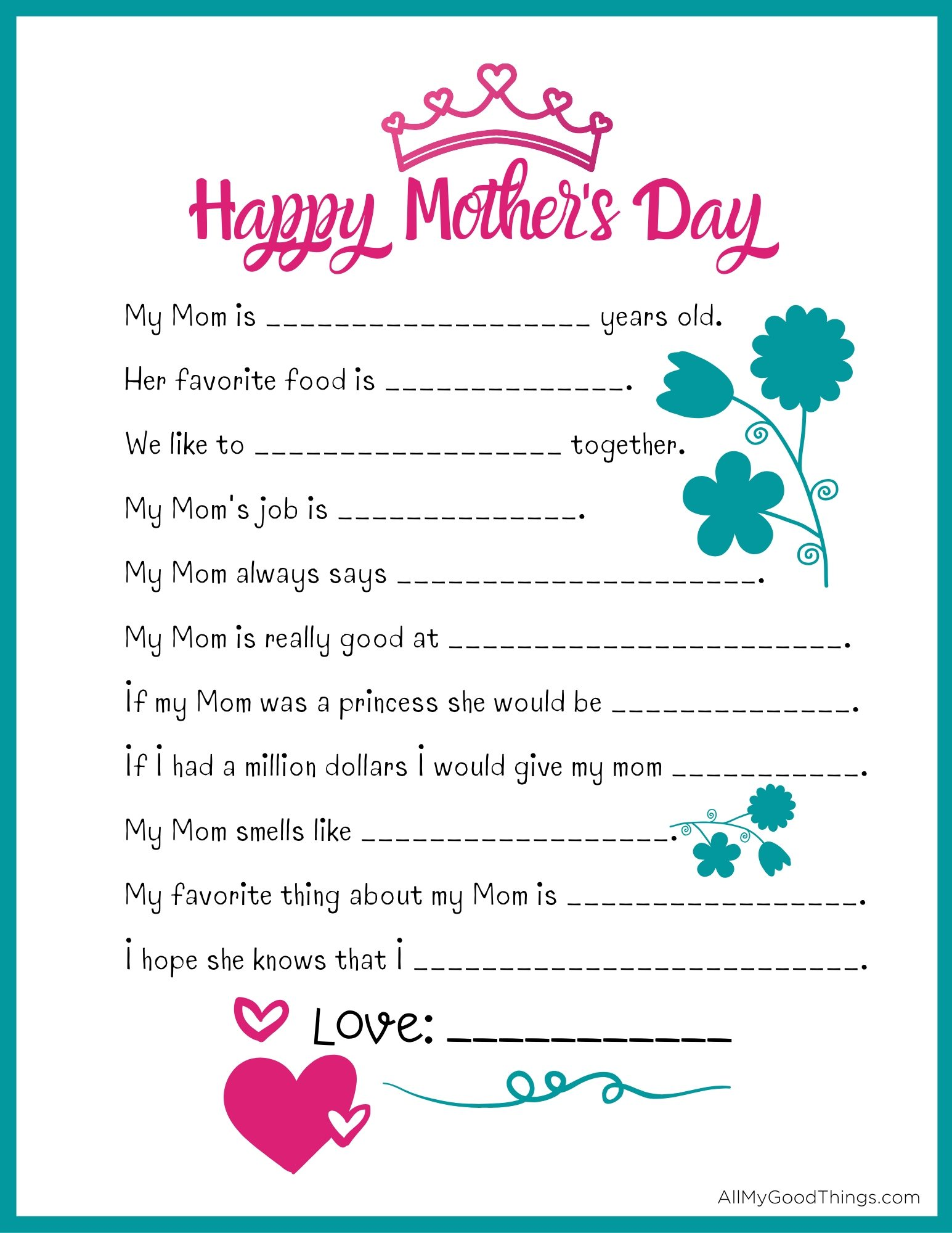 FREE Mother's Day Questionnaire Printable
