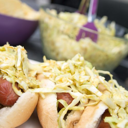 Three Mustard Slaw Hotdogs